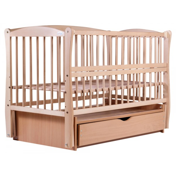 Дитяче ліжко Babyroom Еліт (різьблення, маятник, ящик, відкидний-пліч, бук світлий (натуральний))