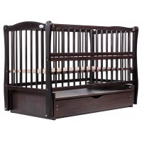 Дитяче ліжко Babyroom Еліт (різьблення, маятник, ящик, відкидний-пліч, бук венге)