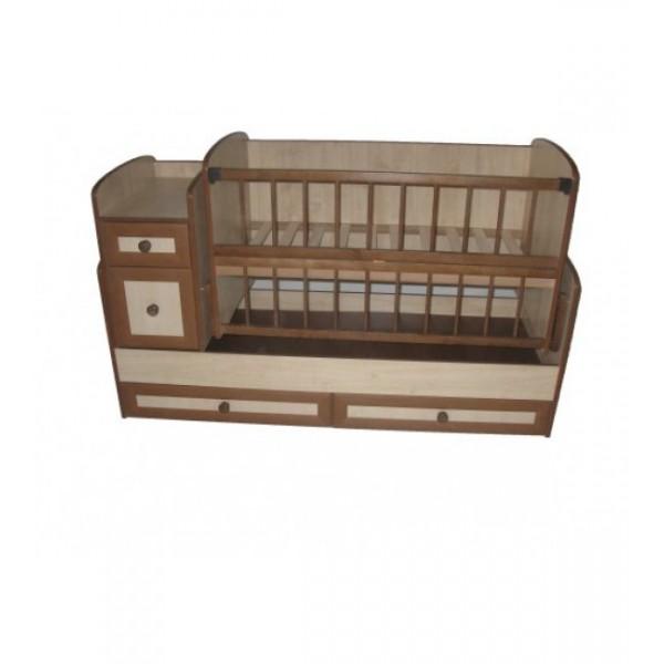 Дитяче ліжко-трансформер (з маятниковим механізмом + комод МДФ) (Клен)