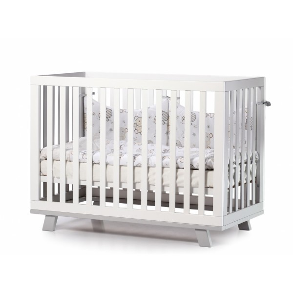 Дитяче ліжко Верес ЛД1 Манхеттен (без коліс, без ящика, на ніжках, біло/сірий)