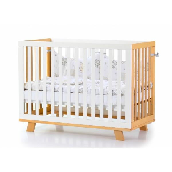 Дитяче ліжко Верес ЛД 1 Манхеттен (без коліс, без ящика, на ніжках, біло/буковий)
