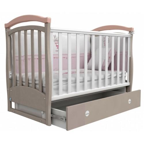 Детская кроватка Верес СОНЬКА  ЛД 6 без колес капучино/розовый