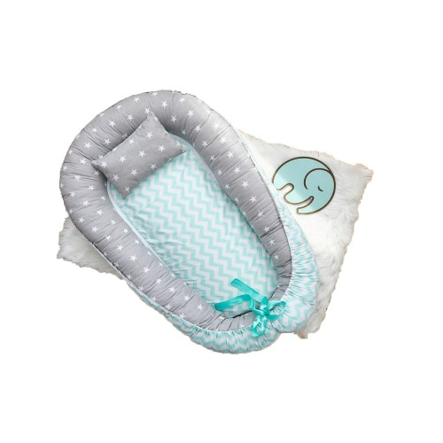 Позіционер (кокон) для новонароджених Добрий Сон Baby Line (100 х 70 см, сіро-м'ятний) (Бейбі Лайн)