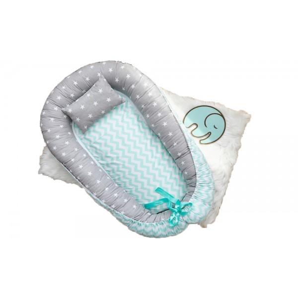 Позіционер (кокон) для новонароджених Добрий Сон Baby Line (85 х 52 см, сіро-м'ятний) (Бейбі Лайн)