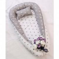 Позіционер (кокон) для новонароджених Добрий Сон Baby Line (100 х 70 см, біло-сірий) (Бейбі Лайн)