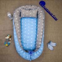 Позіционер (кокон) для новонароджених Добрий Сон Baby Line (100 х 70 см, зірки блакитні) (Бейбі Лайн)