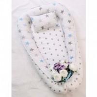 Позіционер (кокон) для новонароджених Добрий Сон Baby Line (85 х 52 см, зірки на білому) (Бейбі Лайн)